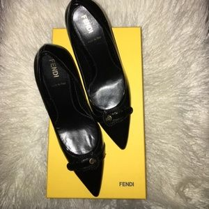 "Fendi Black Patent Leather Buckle Pump 3"" Heels"